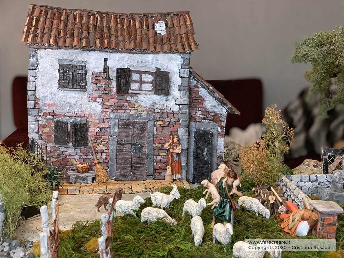 presepe artistico in stile veneto fatto a mano vista pecore