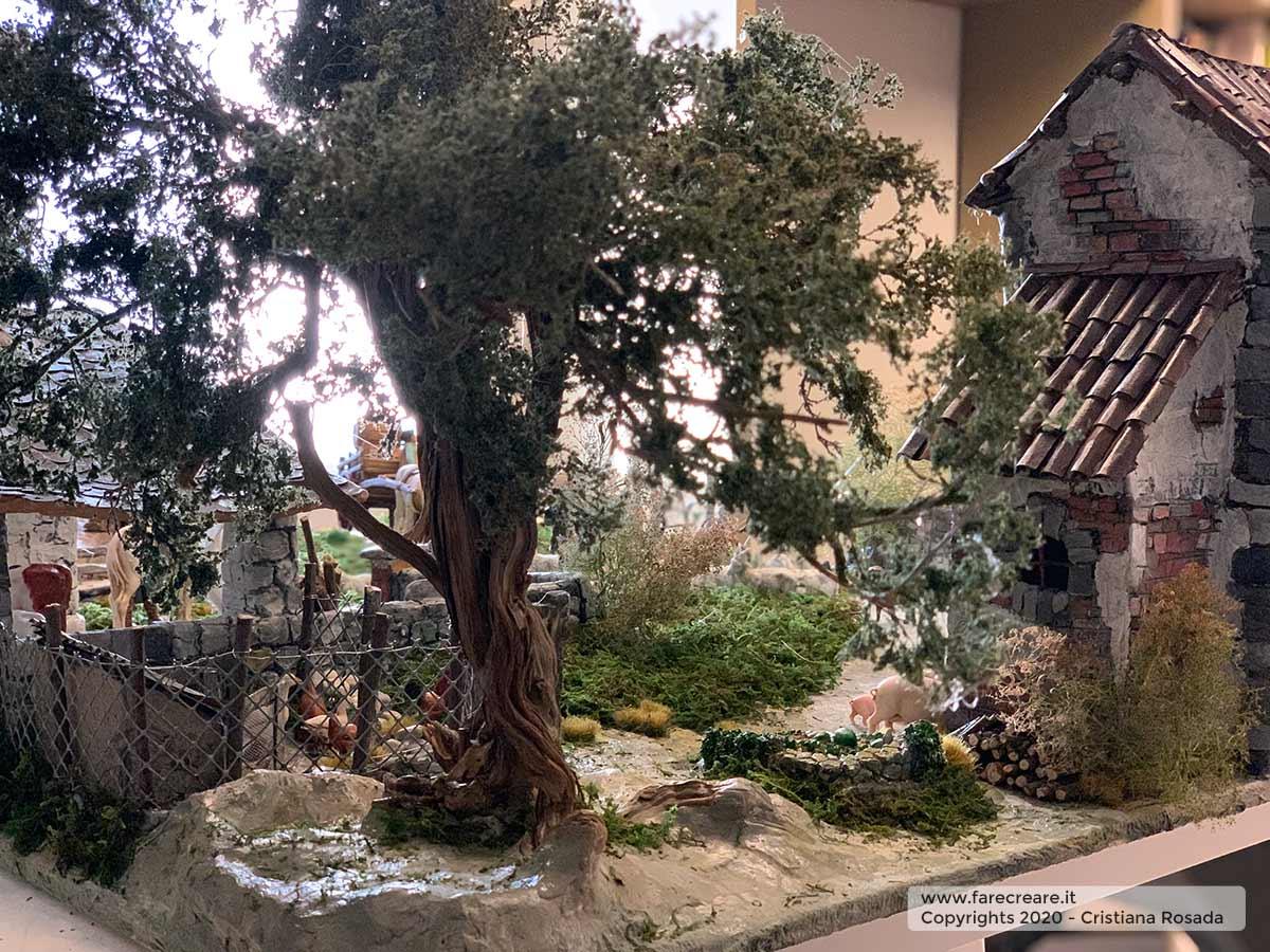 presepe artistico in stile veneto fatto a mano vista alberi