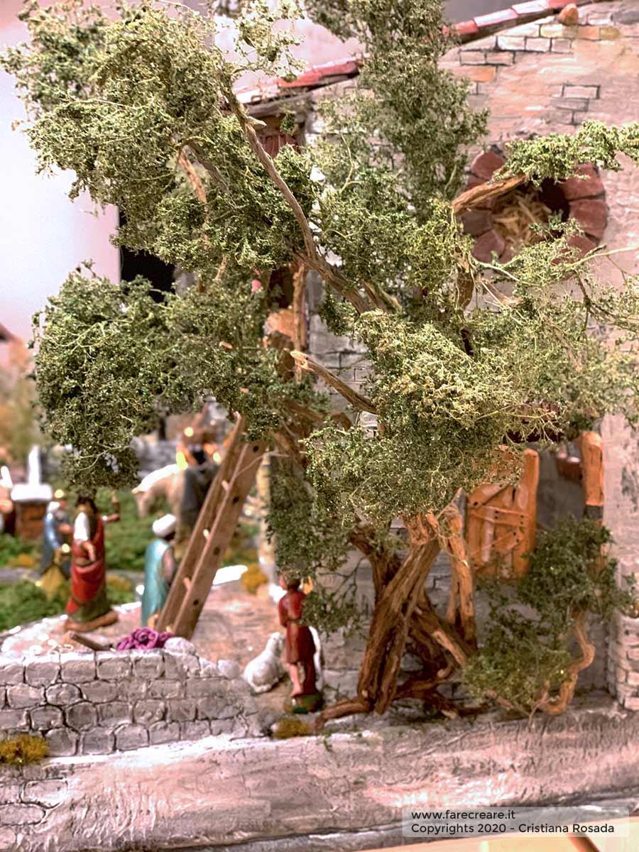 presepe artistico in stile veneto fatto a mano vista albero e capanna